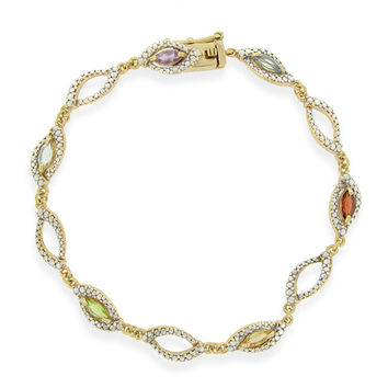 18K Gold over Sterling Silver Multi Gemstone & Diamond Accent Marquise Link Bracelet