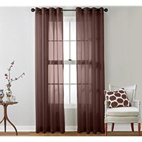 """HLC.ME 2 Piece Sheer Window Curtain Grommet Panels (Chocolate Brown) - 95"""" Inch Long"""