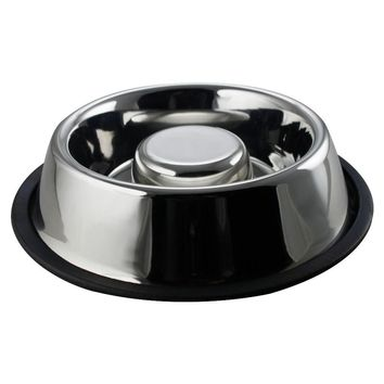 Slow Feeder Pet Bowl Anti Skid Stainless Steel Small by Boomer N Chaser