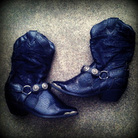 Black Slouchy Cowboy Boots With Conchos Size 8 by TrueBlueDryGoods