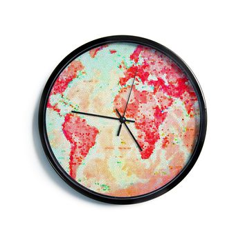 "Alison Coxon ""Oh The Places We'll Go"" World Map Modern Wall Clock"
