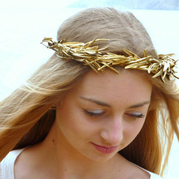 Gold olive leaf Crown, Gold Headband, Woodland Headpiece,  Greek Goddess, flowers headband, Gold Crown, Hair Wreath, Gold Leaves, hipp