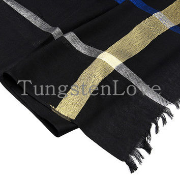 Vintage Classic Black Cotton Plaid Scarf with Tassel End Winter Long Scarves   Shawl for Men Women 2015