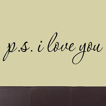 PS I Love You Wall Decal Cute Wall Stickers Saying Inspirational Quotes Vinyl