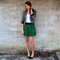 Emerald Green Mini Skirt Striped Foral Paisley by MindOvrMatter