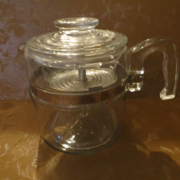 Vintage 1950s Pyrex Flameware Glass Percolator With Lid and Basket  8 cup complete