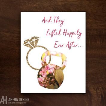 Floral Kettlebell They Lifted Happily Ever After Printable Wedding Sign | Fitness Themed Digital Download Wedding Decor