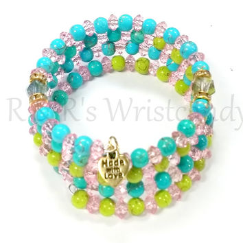 Colorful Gold Splatter Coil Beaded Bracelet Memory Wire Wrap Handmade Custom Jewelry 6mm