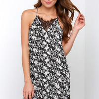 Olive & Oak Leave a Space for Lace Black and Ivory Slip Dress