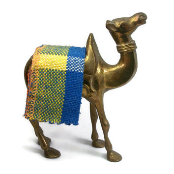 Vintage India Brass Camel Figurine - Small Succulent Planter Knick Knack Pin Cushion Matchstick Holder - Made in India