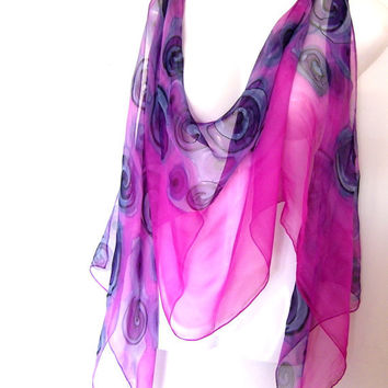 Hand Painted Silk Scarf Pink Black Steel Blue Swirls Abstract