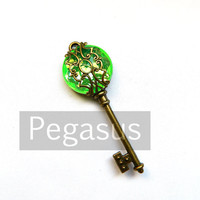 Steampunk Skeleton Key ABSINTHE Green Filigree Acrylic Gem (1 Piece)(Choose your Color) Jewelry pendant for scrapbook and wedding favor