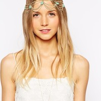 Designsix | Designsix Turquoise Drop Headchain at ASOS
