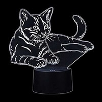 Cat 3D Lamp Illusion Night Light by WUHUHAI, Touch Switch 7 Color 3D Optical Illusion Table Desk Lamp, 3D Light for Desk Bookshelf Decoration