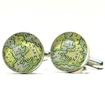 London Antique Map Cufflinks