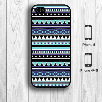 Tiffany Blue Aztec iPhone 5 Case iPhone 4S Case Hard Case Tribal Pattern skyblue black style Print iPhone 5 Back Cover - 000079