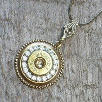 45 Colt Winchester Bullet Casing Rhinestone Necklace