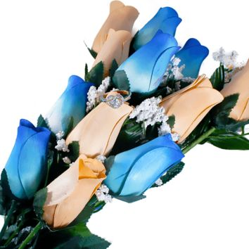 Baby Blue & Peach Bouquet | Jewelry Roses®