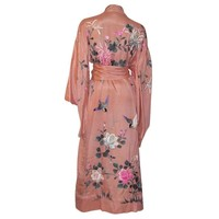 1920's Japanese Apricot Silk Embroidered Kimono with Sash