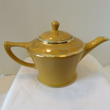 Vintage Hall Cleveland No# 0148 Teapot Yellow with Gold Butterflies 6 Cup USA