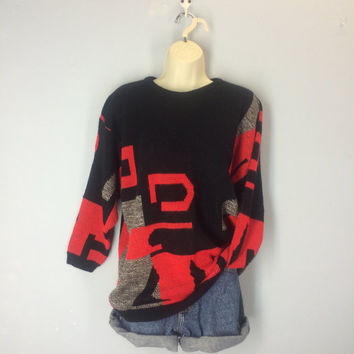 80s Abstract Sweater, Geometric Sweater, Slouchy Sweater, Red Black Sweater, Hip Hop, Fresh Prince, Colorblock Sweater