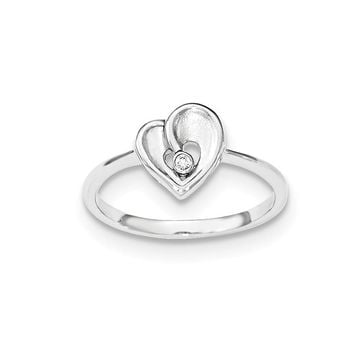 Sterling Silver Polished and Sandblast CZ Heart Ring