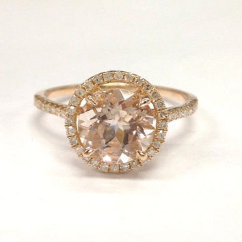 Morganite Engagement Ring 14K Rose Gold!Diamond Wedding Bridal Ring,8mm Round Cut Pink Morganite,Halo,Claw Prongs,Can make matching band