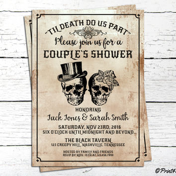 halloween couples invitation printable til death do us part skull couples shower invitation