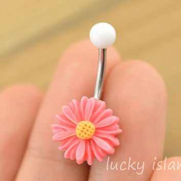 belly button jewelry,little daisy belly button rings, navel ring,daisy piercing belly ring,flower friendship gift