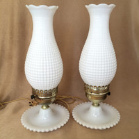 Milk glass Lamps, Hobnail Style, Pair of Lamps, Brass Sleeve Accent, Sleek Hurricane, Vintage Lamps, Shabby Style Home,  White Hobnail Lamps