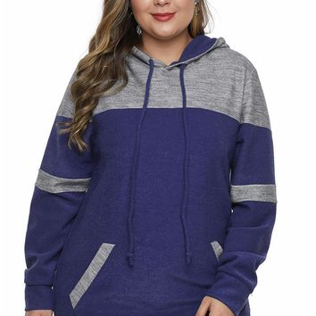 Blue Color Block Pullover Plus Size Hoodie with Pocket