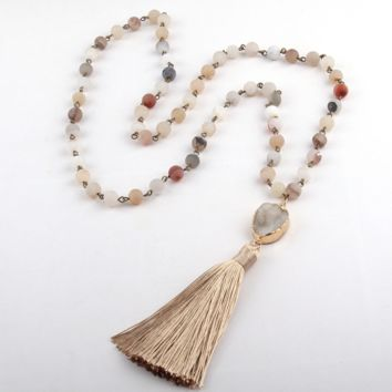 Rosary Chain Natural Druzy Bead Link Tassel Necklace