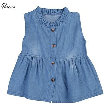 Newborn Kids Baby Girls 2017 New Summer Denim Sleeveless Dress Princess Party Pageant Dresses