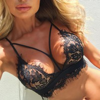 Women Sleeveless Lace Push Up Crop Tops Bra Set Corset Lingerie Underwear Bikini