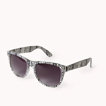 F3845 Tribal Print D-Frame Sunglasses