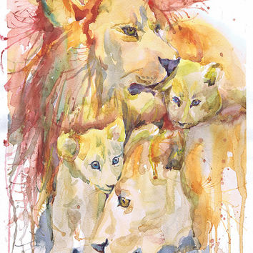 Lion nursery decor, watercolor painting, safari animal, lion art, lionet art print, lion family, lion print, lion illustration,  modern art