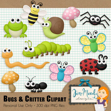 Instant Download: Bugs & Critters Clipart Element Pack, 3D / Beveled and Textured - Printable, Great For Scrapbooking, Personal Use Only