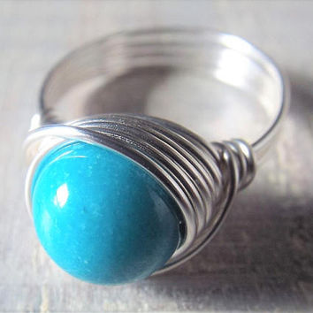 Turquoise Ring, Shell Ring, Blue Stone Ring, Wire Wrapped Ring, Shell Jewelry, Silver Wire Ring, Statement Ring, Birthday Gift for Her