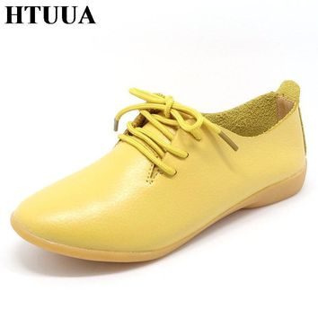 HTUUA Genuine Leather Oxford Shoes For Women Round Toe Lace-Up Casual Shoes Spring And