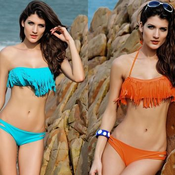 Womens Trendy Tassel Fringe Swimsuit Bikini