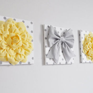Three Light Yellow Dahlias and Gray Bow on Polka Dot Canvases
