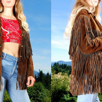 1960's Vintage Suede Fringe Jacket By JOO KAY Small Medium Chocolate Brown Leather Jacket, 60's Suede Jacket, Fringed Festival Hippie Jacket