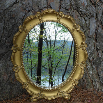 Syroco Mirror Syracuse Ornamental Co Oval Gold Wood Frame Velvet Back Copyright Made in USA  1950s Bows and Ribbons Antique Finish Victorian