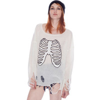 White Long Sleeve Skeleton Hole Loose Sweater