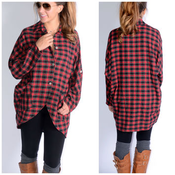 Thinking Out Lounge Red Plaid High Low Flannel Top