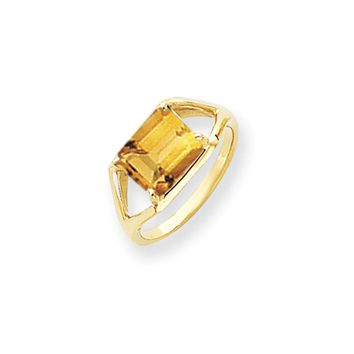 14k Yellow Gold 9x7mm Emerald Cut Citrine Ring