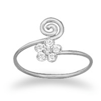 Wrap Toe Ring with Clear Crystal Flower