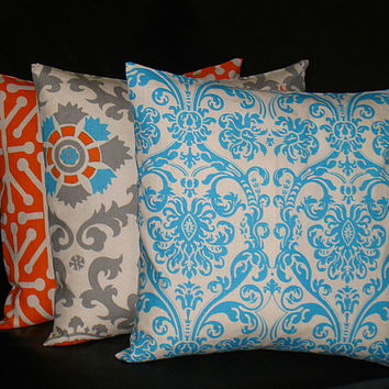"ORANGE Pillows Decorative Pillows TRIO damask, suzani, jacks set of THREE 18x18 inch Throw Pillow Covers 18"" turquoise, tangerine on natural"