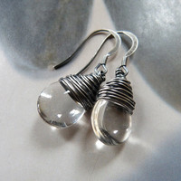 Clear drop beads sterling silver earrings, wire wrapped earrings, casual dangle earrings