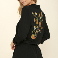Don't Let Me Be Misunderstood Black Embroidered Romper